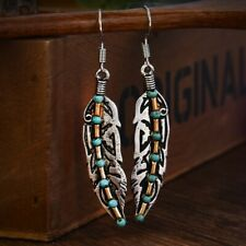 1Pair Antique 925 Silver Plated Feather Turquoise Bead Drop Dangle Hook Earrings