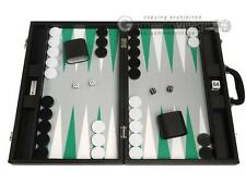 "19"" Premium Backgammon Board Game Set - Black Board, White and Green Points"