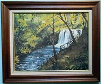 Original Oil Painting Framed GLENARIFF WATERFALL, N. IRELAND by Irish Artist