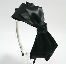 GOSSIP GIRL HEADBAND HAIR ACCESSORY HAT Black satin ribbon BOW HAIR BAND HB1368