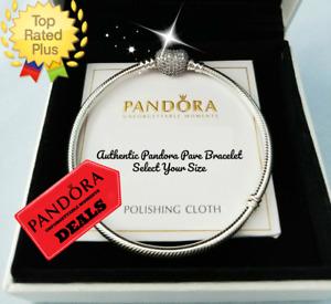 AUTHENTIC Pandora PAVE Heart Bracelet Sterling Silver Snake Chain #590727CZ NIB