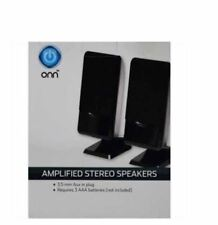 Onn Amplified Stereo Speakers Universal 3.5mm Input Lightweight Compact NEW!