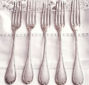 French Christofle Rubans Crosses Silverplate 5 Dinner Forks with elegant MONOGR