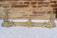 Barre de Cheminée Chenets décor Rocaille en bronze de style Louis XV ref 561