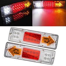 2x 19 LED RV Truck Trailer Rear Tail Brake Reverse Turn Indicator Light Lamp 12V