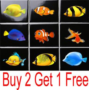 12 x Bathroom Tropical Aquarium Kitchen Tiles Sticker Fish Stickers 12 IN A PACK