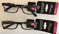 Womens Fashion Reading Glasses Black Rhinestone & Purple Black +3.25 2Pk
