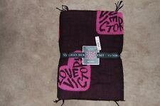 NWT Victorias Secret Pink Hearts Black Cozy Plush Blanket Throw Valentines Day