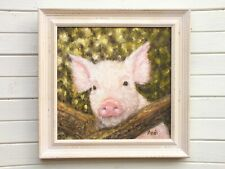 Pink pig Painting Original Oil Painting Signed Framed Farmyard Art