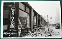 Broadway & Elm St   Long Beach California 1933 Earthquake Damage antique RPPC