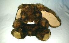 Fluffyville Dark Brown Long Eared Bunny Rabbit Hand Puppet WithTag Free Shipping