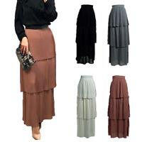 Women High Waist Long Maxi Skirt Muslim Plain Tiered Skirts Islamic Ruffle Dress