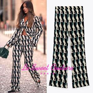 ZARA WOMAN NWT SS21 BLACK/ WHITE PRINTED FLARED PANTS ALL SIZES 8426/248
