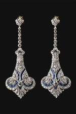 Solid 925 Sterling Silver Vintage Victorian Style Dangle Earrings Screw Back New