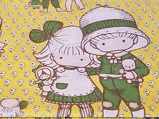 Joan Walsh Anglund 1973 Full Flat Bed Sheet Vintage Yellow Green Utica Boy Girl