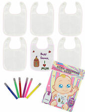 New Baby Shower Bibs Drawing Game Includes 6 Pens & 6 Bibs