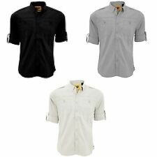Patternless Roll Sleeve Casual Shirts & Tops for Men