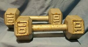 Two 10 Pound Steel Dumbbells Solid one piece solid weights