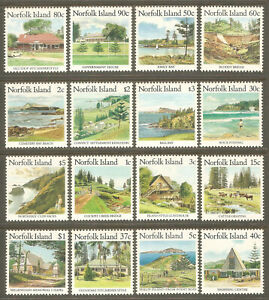 NORFOLK ISLAND Sc# 401 - 416 MNH FVF Set-16 Landscape Buildings Ocean Trees