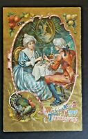 1911 Milton To Stockton CA Thanksgiving Greetings Embossed Postcard Cover