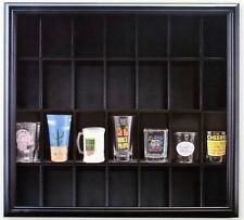 Shot Glass Case  Display Black Wooden Wall Mounted Holds 28 Glasses Home Decor