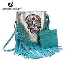 COWGIRL TRENDY Handbag Purse Sugar Skull Fringe Bling Messenger Turquoise Silver