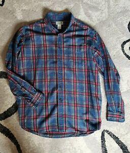 LL Bean Flannel Plaid Long Sleeve Shirt Large