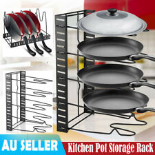 5 Tier Black Kitchen Storage Racks Organizer Pot Pan Cookware Lid Pantry Rack AU