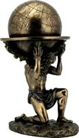 Greco Antico Atlante Carrying The World (Freddo Scultura Bronzo Statua 23.5cm)