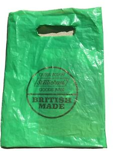 Vintage Used Plastic M&S St Michael Green Small Bag 31x23cms Approx Props