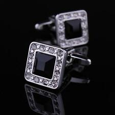 Stainless Steel Diamond Gem Wedding Silver Business Square Cufflinks, Black