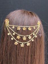 Women Head Fashion Gold Metal Chains Jewelry Hair Gold Flowers Rhinestones Pins
