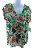 Kate Park Womens Multi Color Tropical V Neck Cap Sleeve Top Casual Size Small