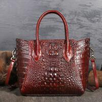 Ladies Women Crocodile Grain Genuine Leather Handbag Messenger Shoulder Tote Bag