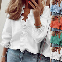 Women Casual T Shirt Long Sleeve Ruffle V Neck Tops Loose Blouse Floral Tunic