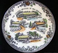 1800's Covered Bridges Plate New England Maine Nh Vermont Porcelain Vintage