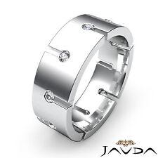 Bezel Round Diamond Ring 8mm Mens Eternity Wedding Band 18k White Gold 0.50Ct