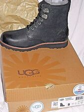 Authentic UGG Australia M Hannen Men's Size 8 Black Leather Casual Boots NIB