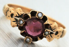 Ladies Antique Victorian 1890s 14K 585 Yellow Gold Ruby Seed Pearl Claw Ring