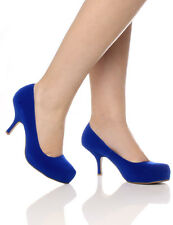 Style Ada Womens Ladies Mid Heel Casual Smart Work Pump Court Shoes Size 3-8 Electric Blue Suede 39 UK 6
