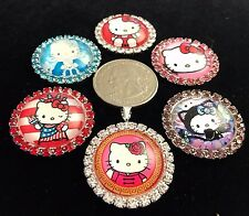 HELLO KITTY 27mm GLASS DOME FLATBACK CABOCHON RHINESTONE EMBELLISHMENTS 6 pcs Y