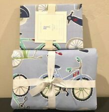 New Pottery Barn Kids Boy Bicycle Bike Twin Duvet Cover and Standard Sham, Blue