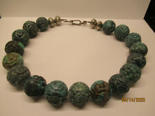 Antique 1920's Chinese TURQUOISE  Bead Hand Carved Necklace