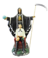 "16"" Black Santa Muerte & Jesus Malverde Statue Grim Reaper Holy Death"