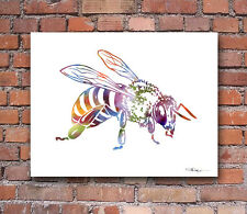 Honey Bee Abstract Watercolor Painting Art Print by Artist DJ Rogers