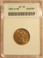 1901-S CORONET HEAD $5 HALF EAGLE GOLD COIN ANACS EF 45
