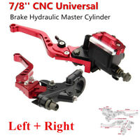 """Red 2x Motorcycle CNC Aluminum Alloy 7/8"""" (22mm) Master Cylinder levers Set #"""