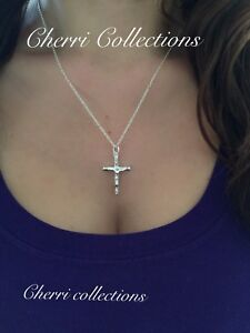 925 Sterling Silver Women's Crucifix Catholic Cross Pendant Necklace N5""