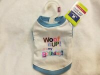 """Top Paw Dog Tee """"Woof It Up! It's My Birthday!"""" Size X Small"""