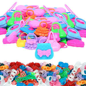 Random 40= 20 Shoes Sandals+ 20 Bag Purses Clothes Accessories for 12 in. Doll